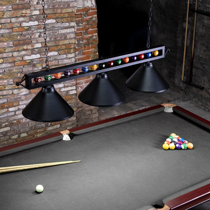 A pool ball lamp for above the billiards table - how clever
