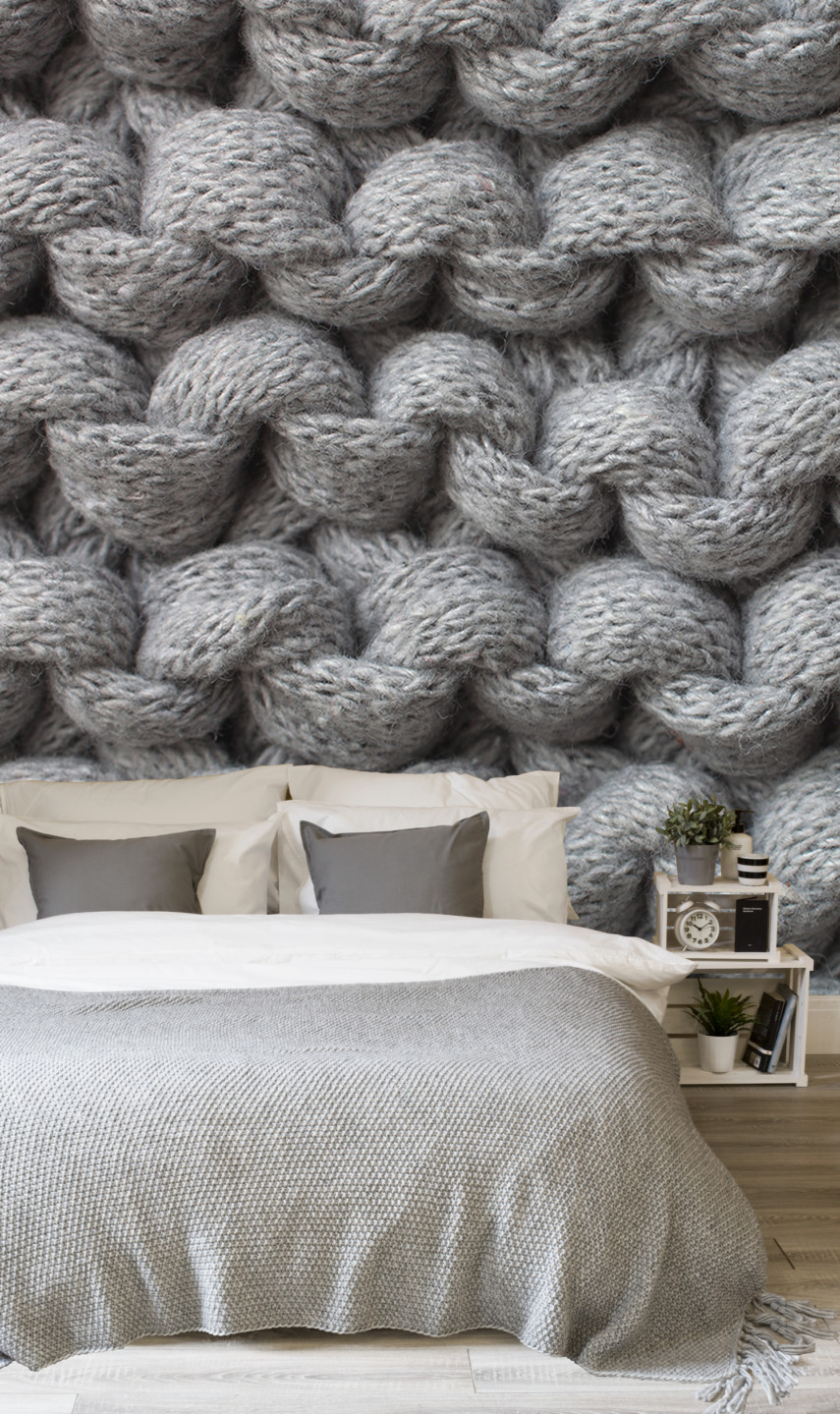 Knit wall mural makes a bedroom cozy - from muralswallpaper.com