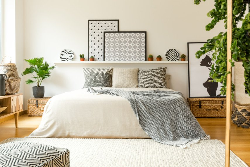 Neutral toned bedroom with geometric accents