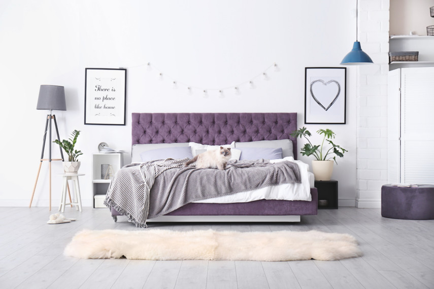 Bed with a purple quilted headboard and simple decor