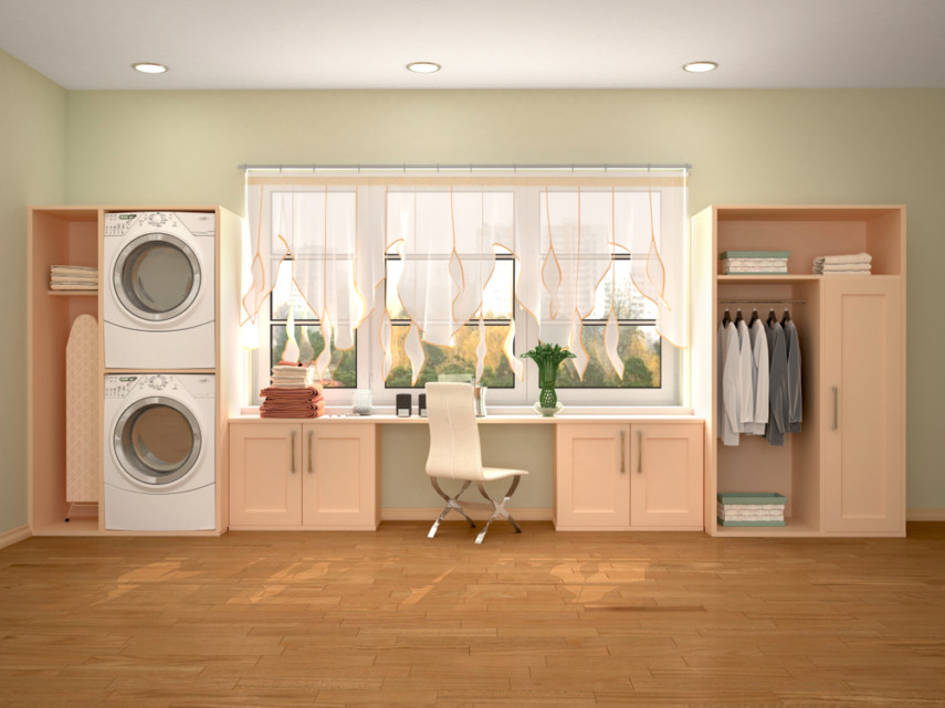 Office laundry combo with stacked machines and hanging bar