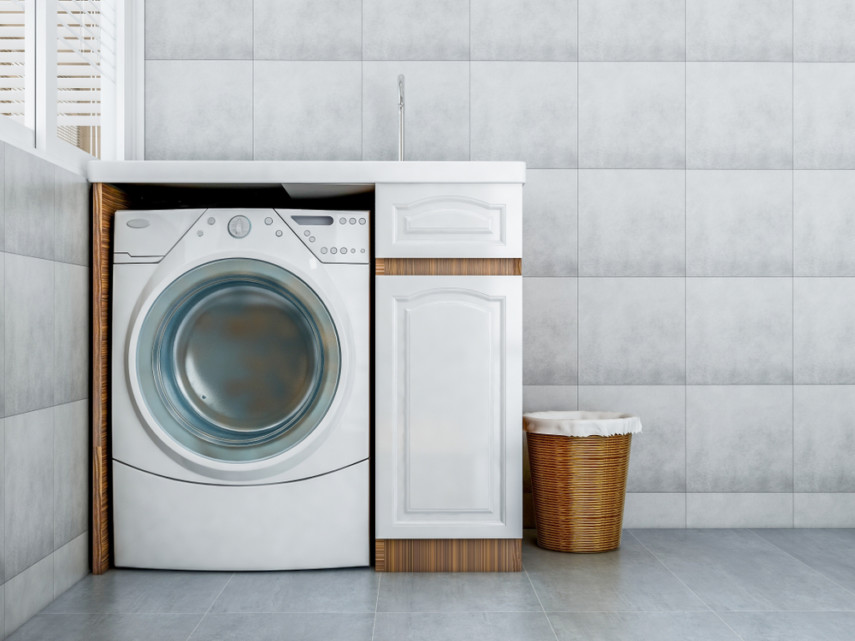 Narrow spaces laundry room idea - countertop, all-in-one washer dryer, and storage