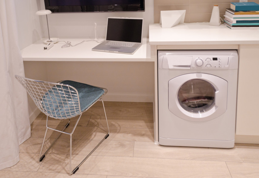 One wall laundry room idea with home office