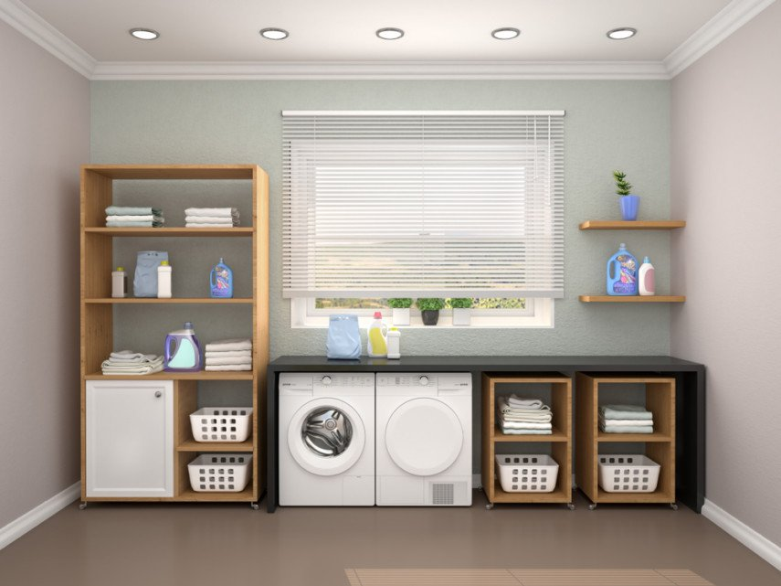Single wall laundry room idea with under counter washer, dryer, storage combo