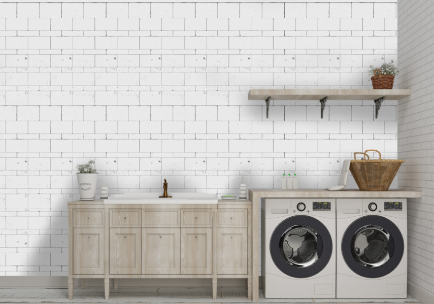 Farmhouse style utility sink layout design idea against white brick wall