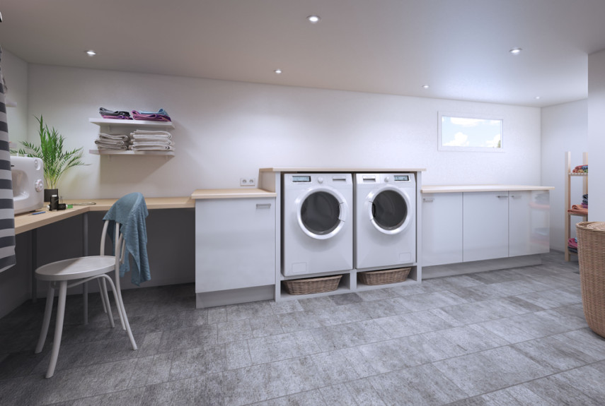 Large space large laundry room layout includes home office and plenty of countertops