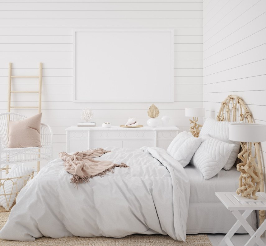 Simple white bedroom with beige accents
