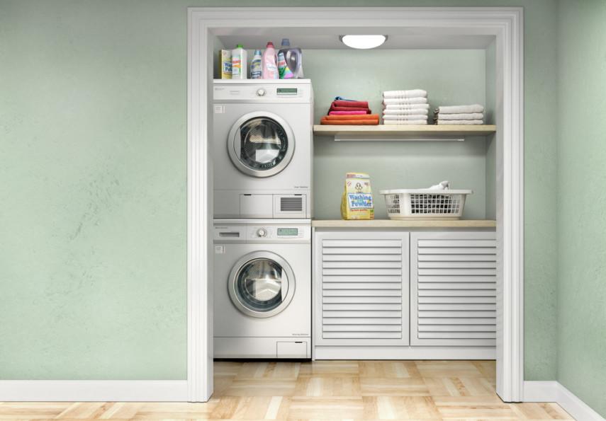 Closet laundry design idea - stacked machines, wood floor, countertop, shelving