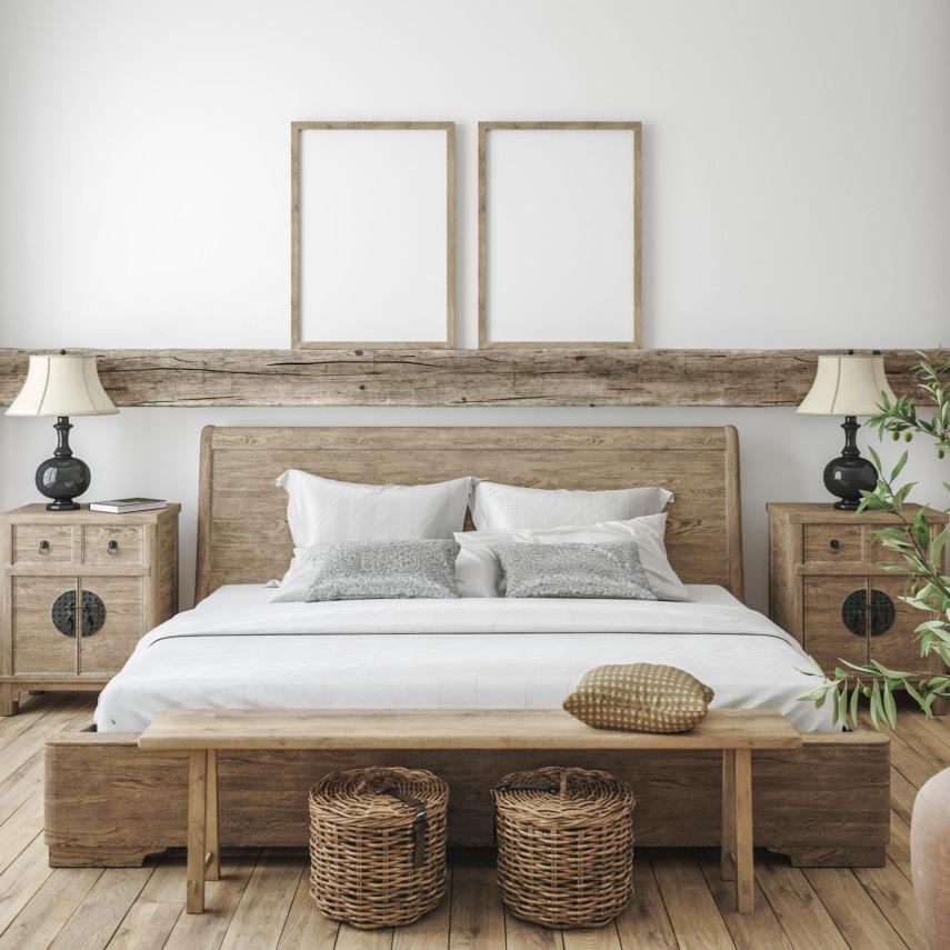 Natrual wooden bedroom set