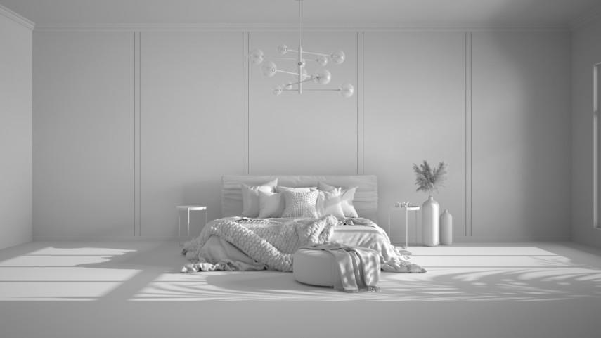 Large minimal all white bedroom