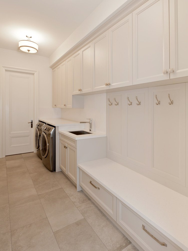 One wall laundry room and mud room combo