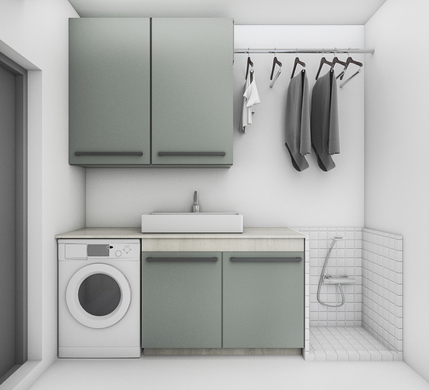 Laundry room layout with utility sink, hanging bar and pet washing station