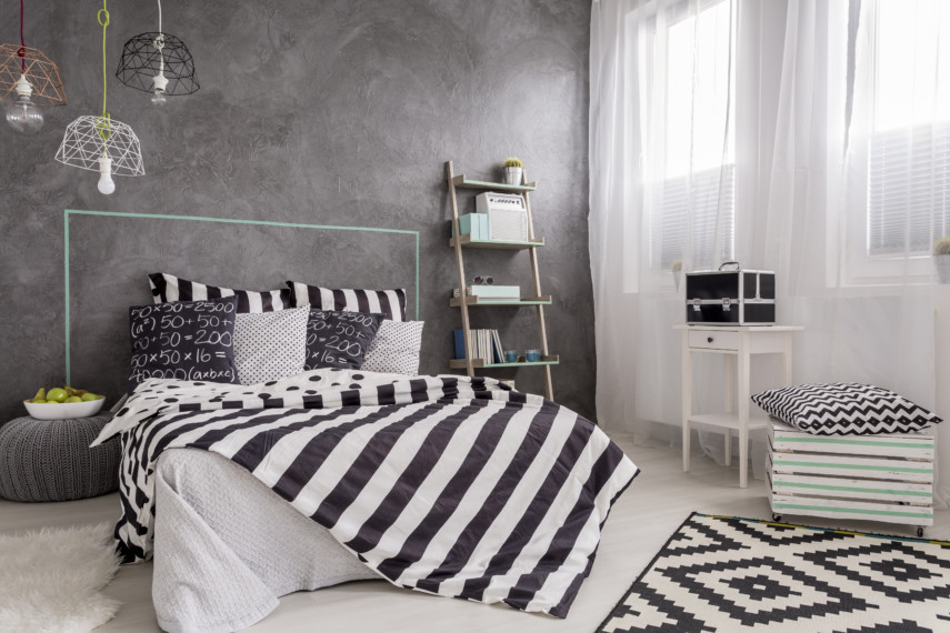 Black and white bedroom with geometric patterns