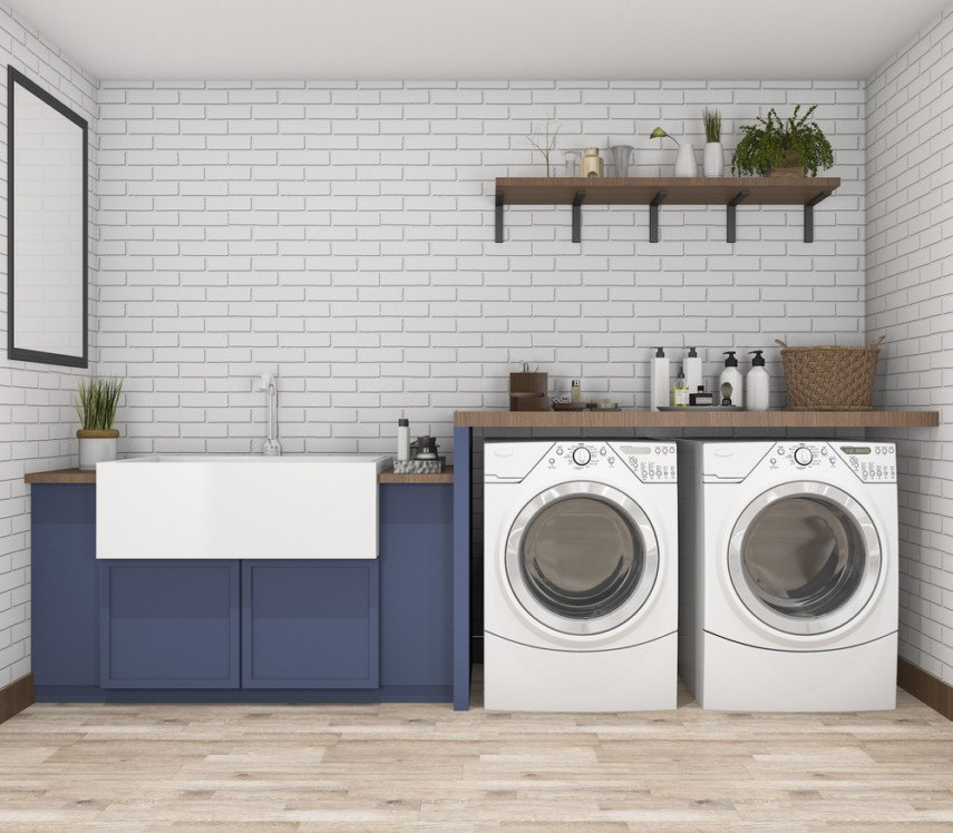 Laundry room layout with utility sink, drop-in type, with side-by-side washer and dryer
