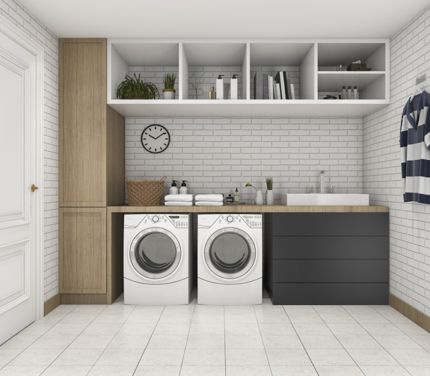 One wall laundry room ideas with overhead cubbies and counter space for sorting