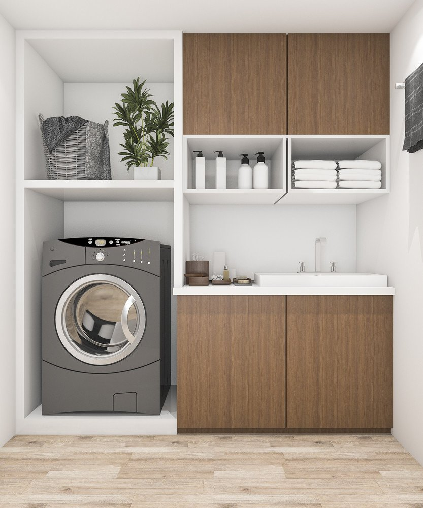 Mix cabinet types to maximize laundry room layouts in a small/narrow space