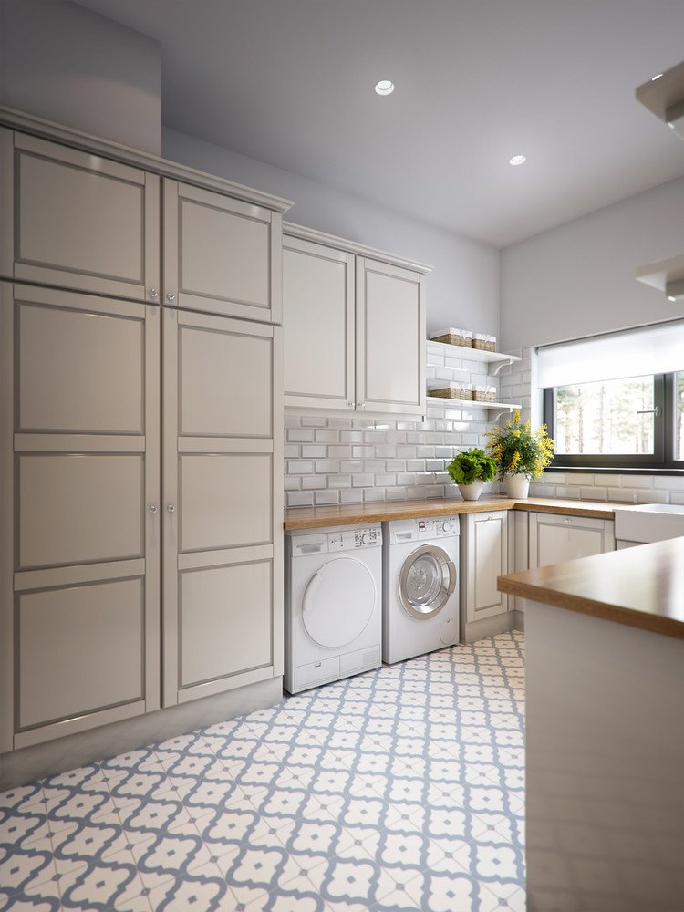 Kitchen design with laundry room on one wall