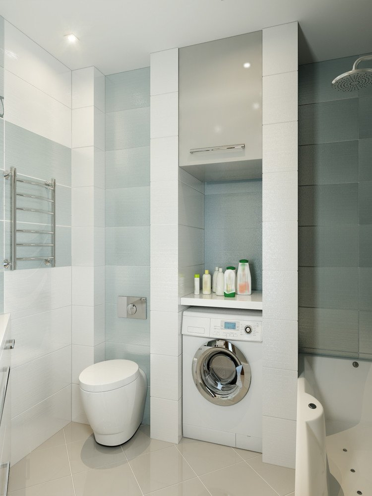 Bathroom laundry room combo layout makes the most out of a tiled niche