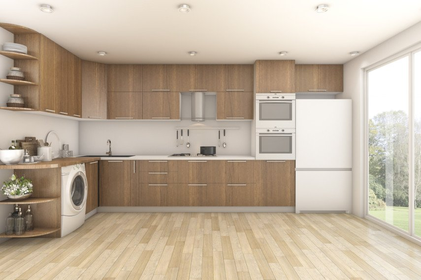 Kitchen laundry room design idea - laundry area has its own utility sink