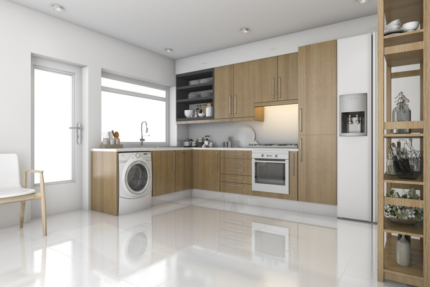 Sophisticated modern kitchen laundry room design with white machine on pedestal