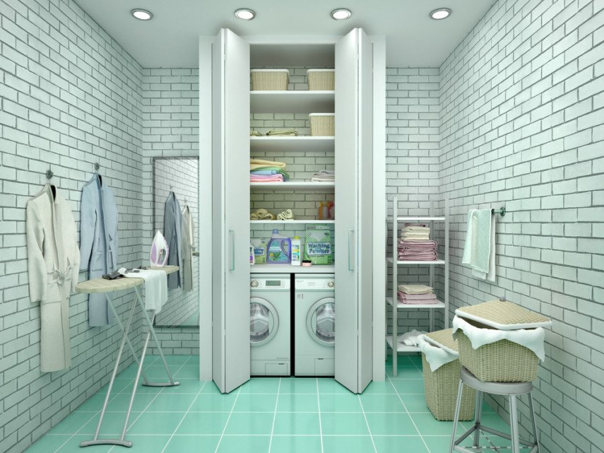 White brick enclosed space laundry room design with green tile floor