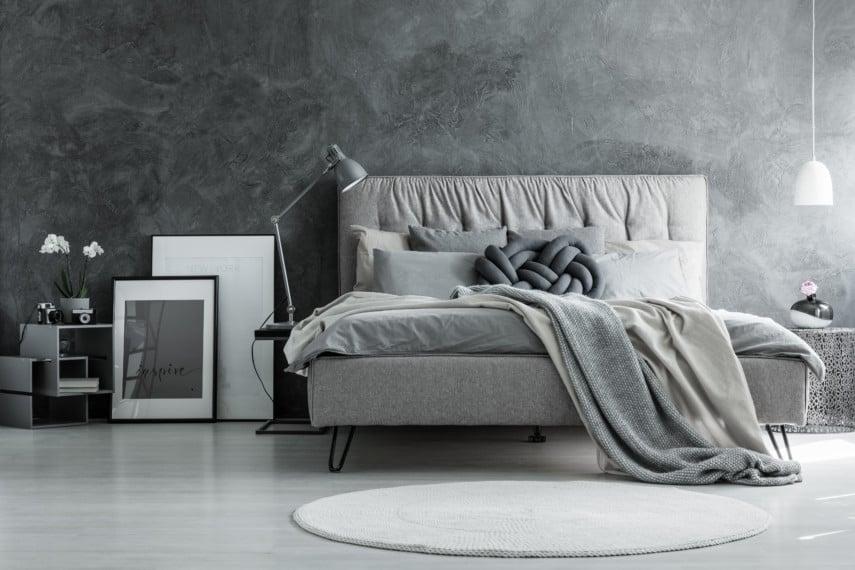 Simple monochromatic gray bedroom