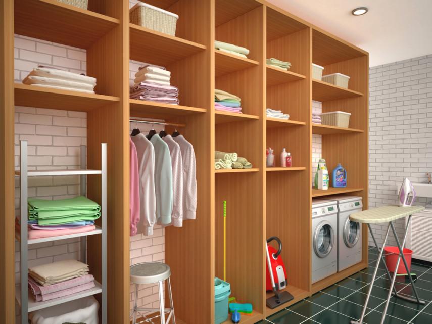 Single-wall laundry room with plenty of storage
