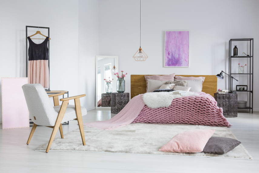 Modern bedroom with soft pink details