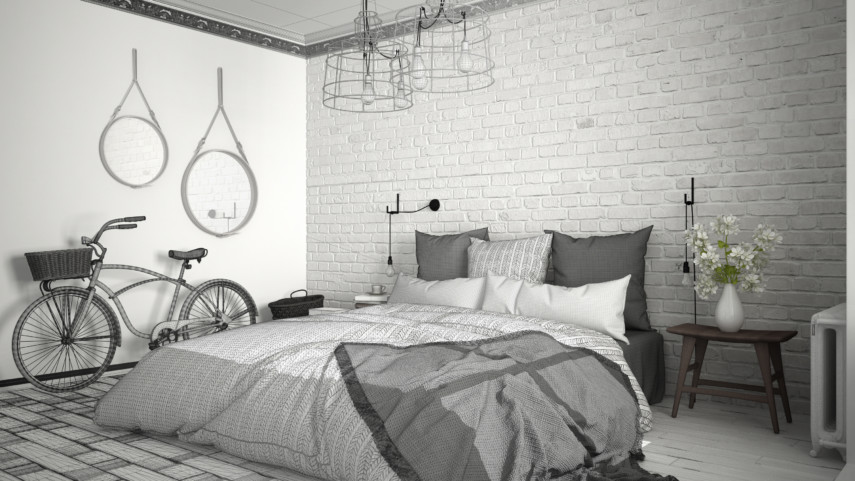 Gray toned bedroom with a bicycle and white brick wall