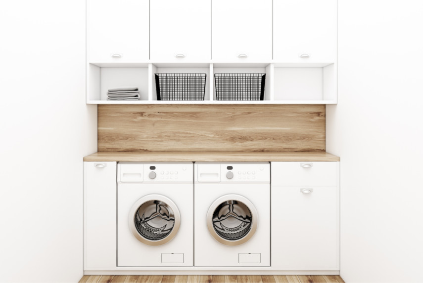 Countertop over front load machines, cupboard and drawer column