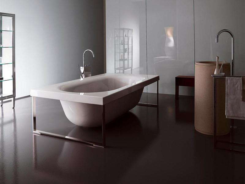 glass and metal bathtub