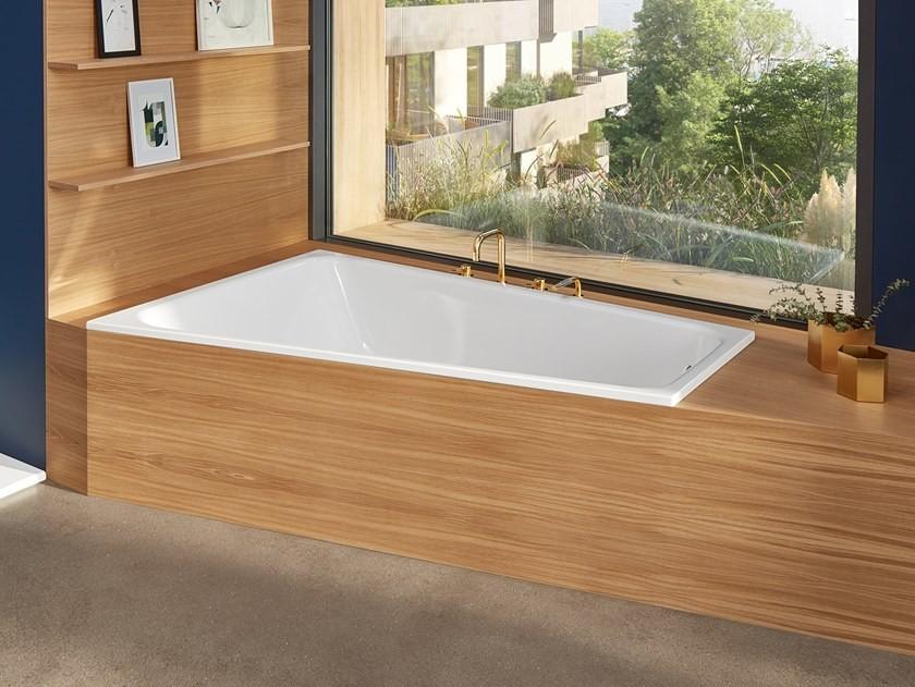 sunken bathtub wood floor