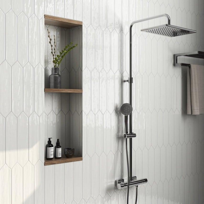 wooden shelved shower niche