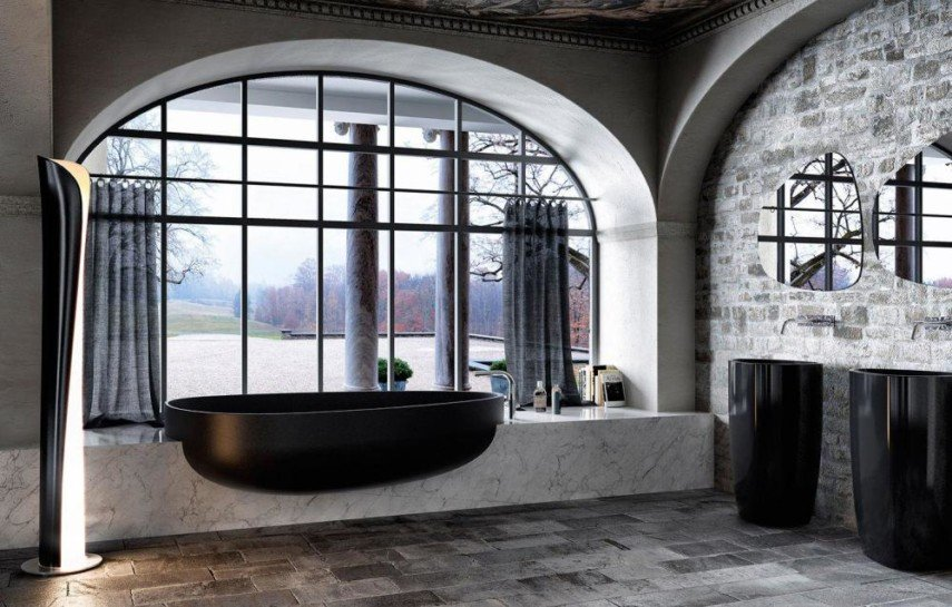 semi inset bathtub