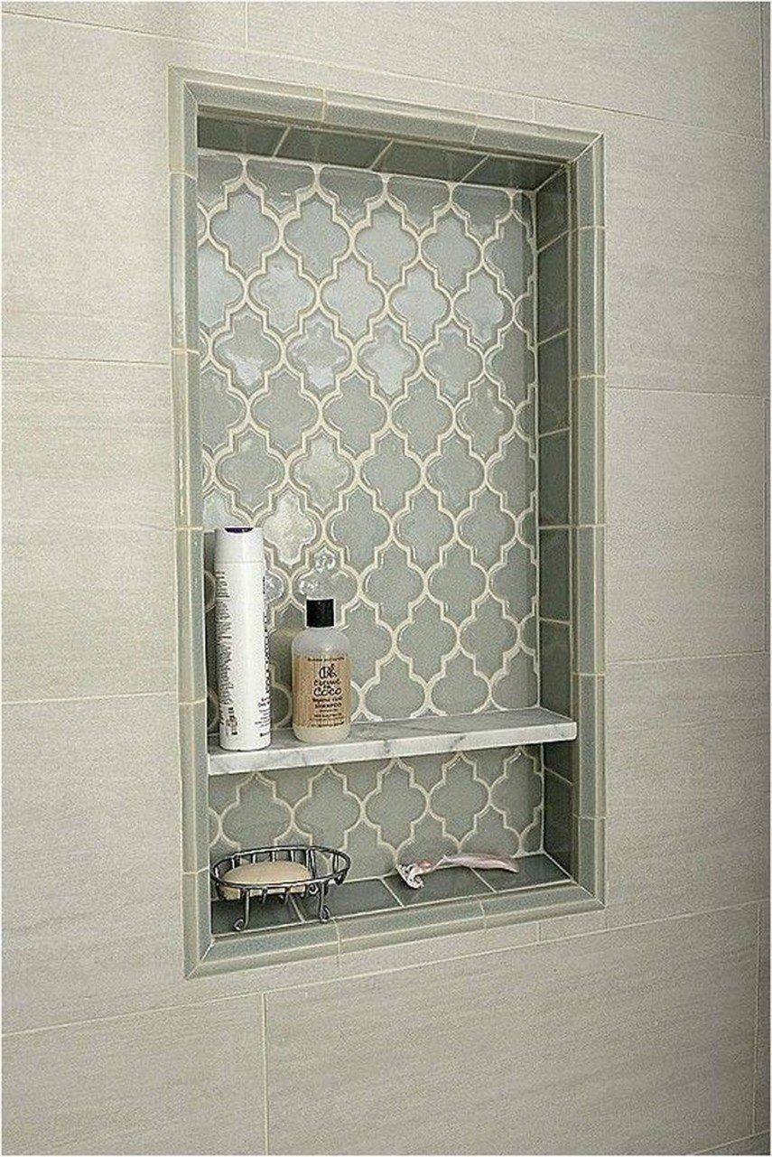 decorative Moroccan style tile shower niche