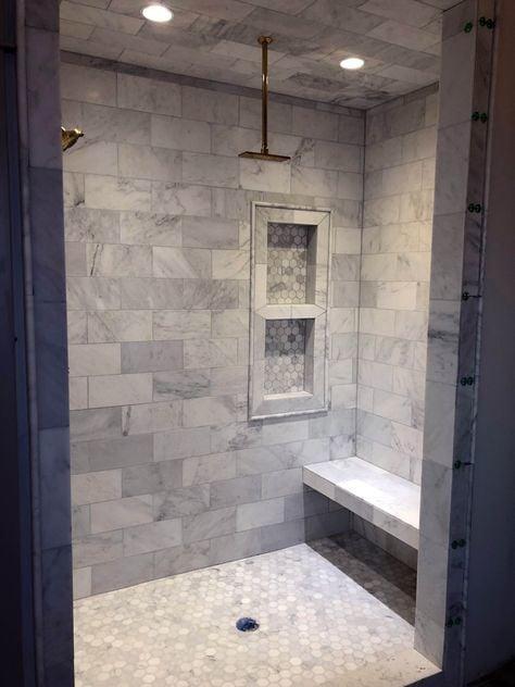 gray stone tile shower