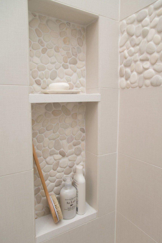matching pebble tile shower niche