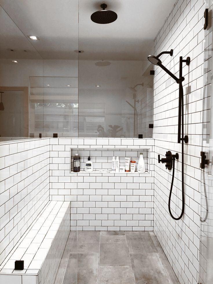 horizontal low shower niche