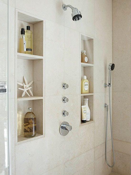 double vertical shower niche