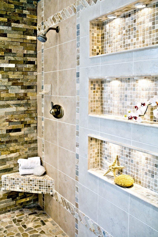 lighted mosaic tile shower niche