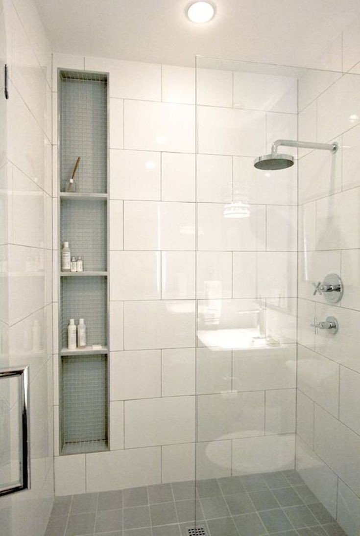 shower with wall height vertical niche