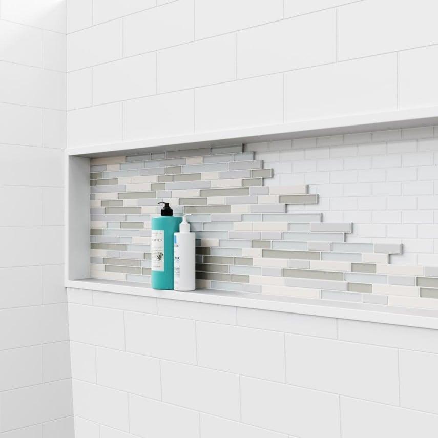 textured shower niche