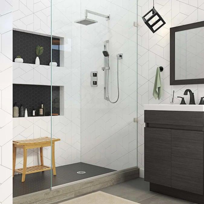 black and white shower design