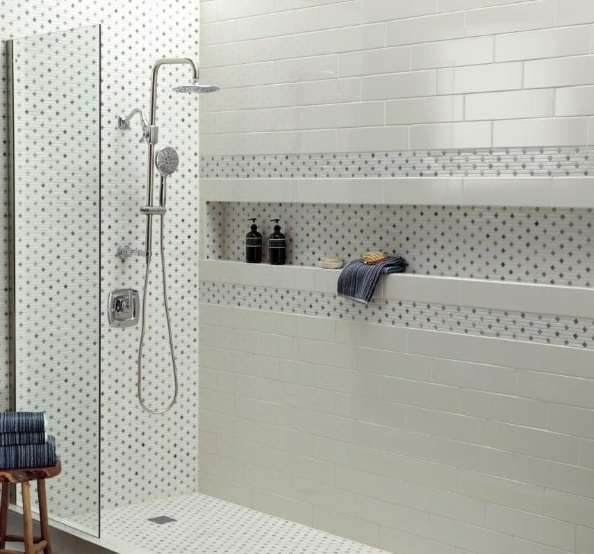 wall width mosaic tile niche