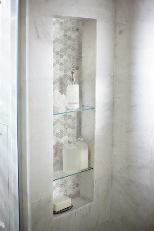 vertical shower niche glass shelves