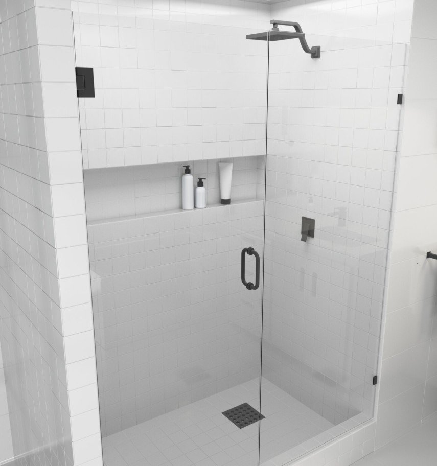 simple wall width shower niche