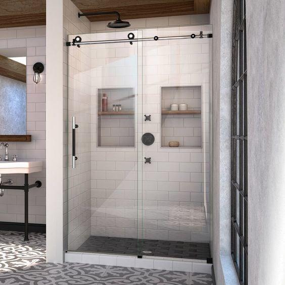 double shower niche