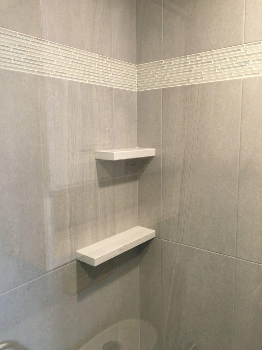 simple corner shower niche