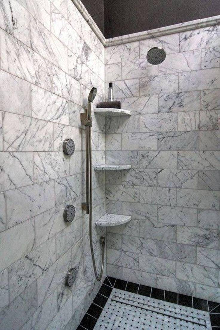 stone shower with corner niche