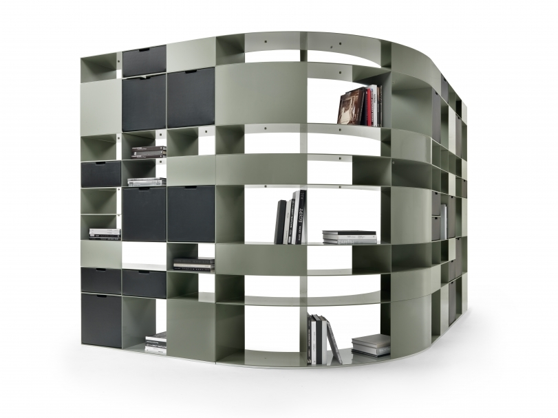 cowhide leather bookcase